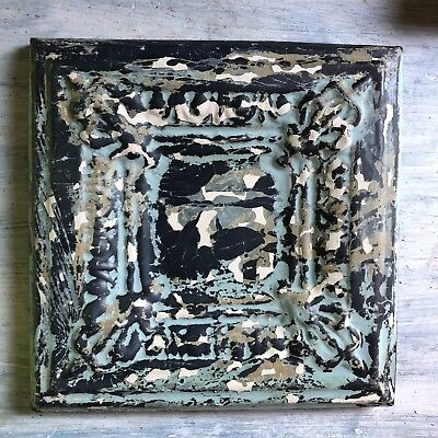 "11"" x 11""1890's Wrapped Tin Ceiling Tile Reclaimed Salvage Verdigris 219-18"