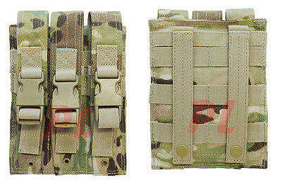 MOLLE Triple Airsoft MP5 Magazine Pouch .22 or 9mm Mag Ammo Flap PAL-MULTICAM