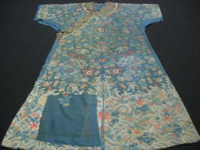 Antique Chinese Blue Silk Gauze Brocade Court Robe, Three Parts, As Is Condition