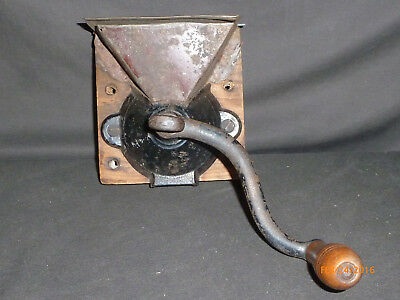 Antique Primitive Early Side Mill Coffee Grinder Hanging Tin and Cast Iron