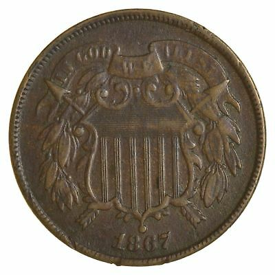 *TWO CENT* 1867 US TWO 2 Cent Piece - First Coin with In God We Trust Motto *029