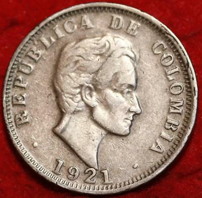 1921 Colombia 50 Centavos Silver Foreign Coin