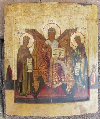 18th CENTURY ANTIQUE RUSSIAN ICON OF DEISIS
