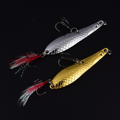 1X 7cm/13g metal fishing lure spoon with feather noise paillette hard bait HU
