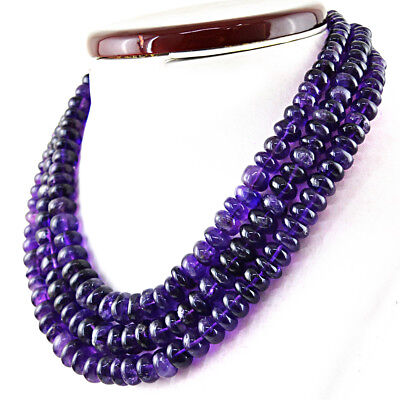 Round Shape 905.00 Cts Natural 3 Strand Purple Amethyst Untreated Beads Necklace