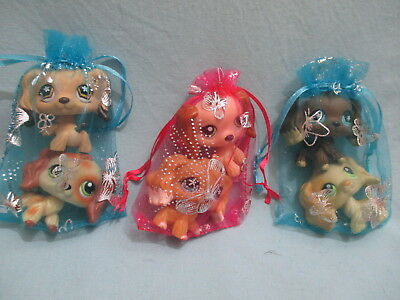 Littlest Pet Shop Set Lot 2 Random Cocker Spaniel Dogs Authentic and Gift Bag
