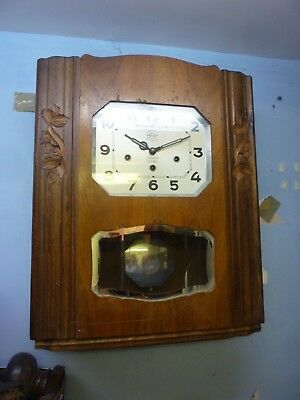 Original Art Deco Girod Westminster Chime Wall Clock In Good Working Order