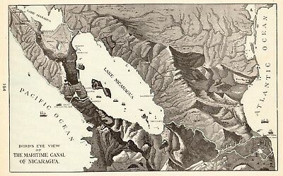 1901 Antique NICARAGUA CANAL Map Vintage Maritime Canal Map Gallery Wall 5262
