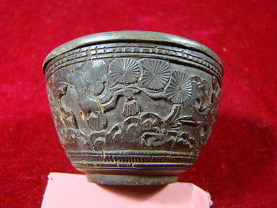 Chinese 1900's nice tin and coconut carving wine cup  p395