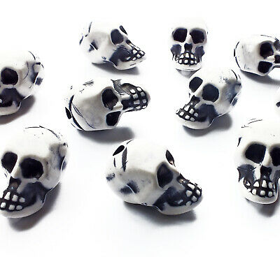 10 x Large White Acrylic Skull Head Beads Charms 20mm, Plastic Halloween Gothic