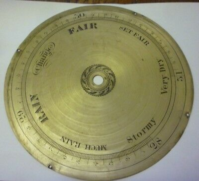 Original Antique Banjo Barometer 8ins Silvered Brass Dial (1)