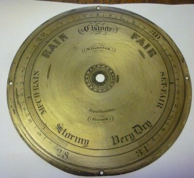 Original Antique Banjo Barometer 8ins Silvered Brass Dial Gardner Glasgow (4)