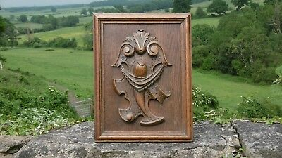SUPERB 19thc OAK WOOD CARVED HERALDIC PANEL WITH SWAG IN RELIEF