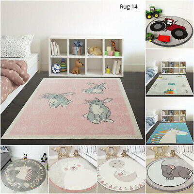 Yellow Grey Kids Boy Girls Nursery Rugs Soft Cream Cosy Childrens Bedroom Mats