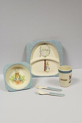 Personalised Peter Rabbit Bamboo Dinner/Breakfast Set - Just add name