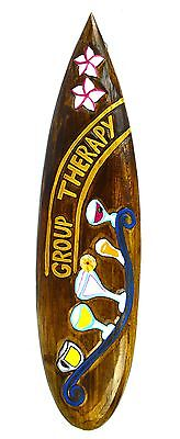 "24"" Hand Carved Group Therapy Surfboard Sign Wall Tiki Bar Tropical Island Decor"