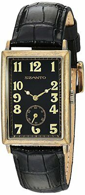 Szanto 4200 Series Square Black Dial Bronze Tone Leather Unisex Watch SZ 4201