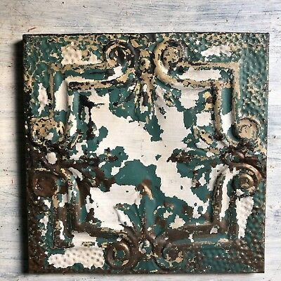 "11"" x 11"" 1890's Wrapped Tin Ceiling Tile Reclaimed Salvage White Green 226-18"