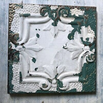 "11"" x 11"" 1890's Wrapped Tin Ceiling Tile Reclaimed Salvage White Green 227-18"