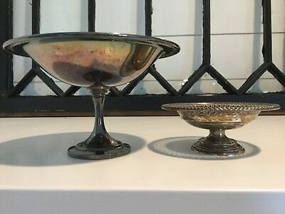 Antique Birks Sterling Silver Pedestal Pierced Candy Dish & Oneida Footed Bowl