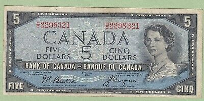 1954 Bank of Canada 5 Dollar Note - Beattie/Coyne - H/C2298321 - Fine