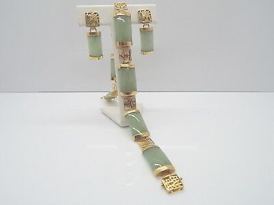 Vintage Matching Jade 14K Solid Gold 8 Inch Bracelet Pierced Earring Set Unique