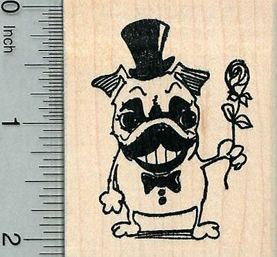 A8 Pug Dog Unmounted Rubber Stamp RS00025480