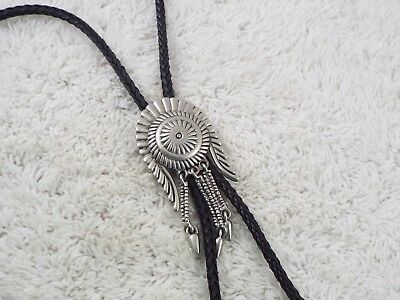 Silvertone Indian Chief Headdress Black Bolo Tie Necklace (D39)