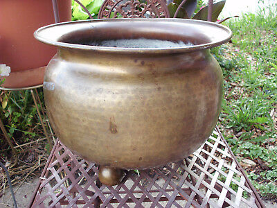 "Antique Russian Hammered Brass 3 Footed Chamber Pot Planter Basin 11""t X 13.5""d"
