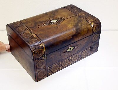 Original Antique Wooden Box with Ornate Design on Hinged Lid. 25.5 x 17 x 12.5cm