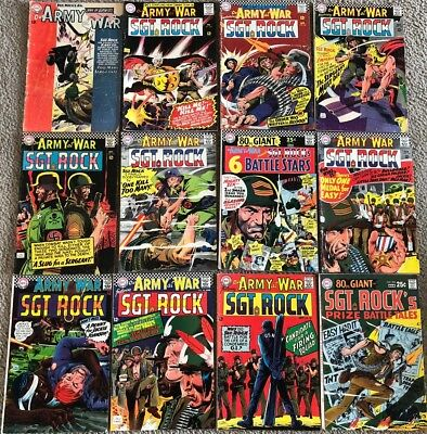 Our Army At War SGT Rock's DC Comic Book Lot (12 books) # 137-203 ** 2.5 GD+**