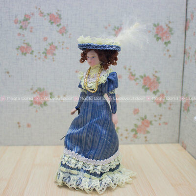 Victorian Noble Lady Girl Doll Blue Dress 1:12 Dollhouse Miniatures
