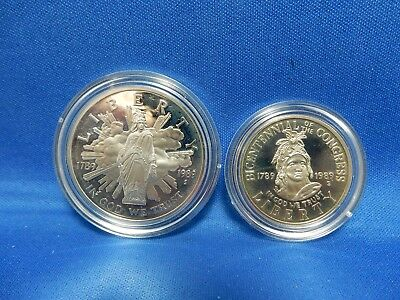 1989-S Congress Bicentennial Commemorative Proof Silver Dollar and Clad Half
