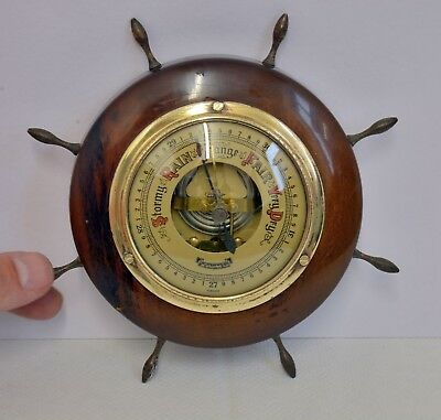 Lovely Vintage Ship's Wheel Wooden Framed Lorister Barometer. Wall Mountable