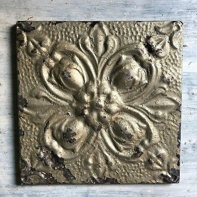 "11"" x 11"" 1890's Wrapped Tin Ceiling Tile Reclaimed Salvage Gold 228-18"