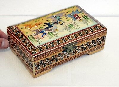 Delightful Vintage Eastern Wooden Box with Handpainted Hunting Scene on Lid