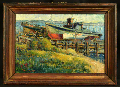 Antique Impressionist Oil Painting Boats Dock New York Listed M. Peterson 1925