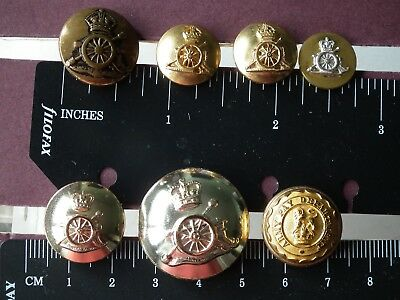 Lot of 7 Military buttons. Royal Artillery andArmy Pay Department