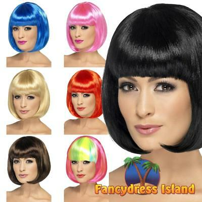 Partyrama Wig 12 inch Short Bob with Fringe Adult Women's Fancy Dress Costume