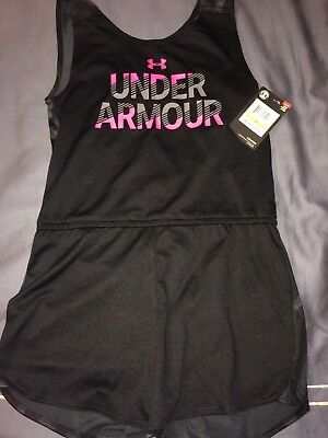 Girl's Under Armour Tank Top / Shorts Romper Black, Gray, Hot Pink Sz 6X NEW NWT