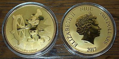 2017 Niue Disney Steamboat Willie 24K Gold Gilded 1 Oz .999 Fine Silver $2 Coin
