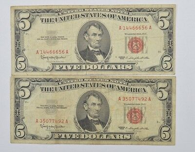 Lot of (2) $5.00 Red Seal US Notes Currency Collection 1963 *582