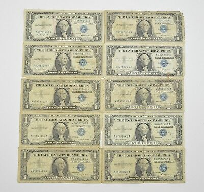 Lot (10) 1957 or 1935 $1.00 Silver Blue Seal Certificate Notes Collection *441