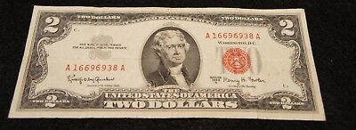 1963A 2 Dollar Red Seal Note in VG Condition Nice Old Note!