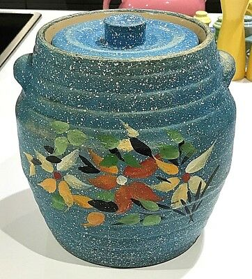 Antique Blue Decorated with Flowers Stoneware Pottery Wide Band Rings Cookie Jar