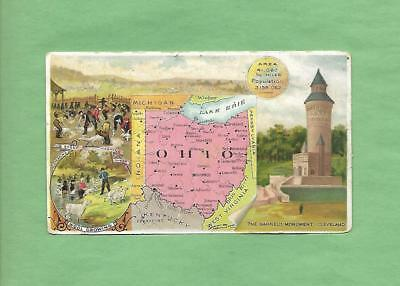 HISTORIC SCENES FROM OHIO, MAP On ARBUCKLE COFFEE #68 Victorian Trade Card