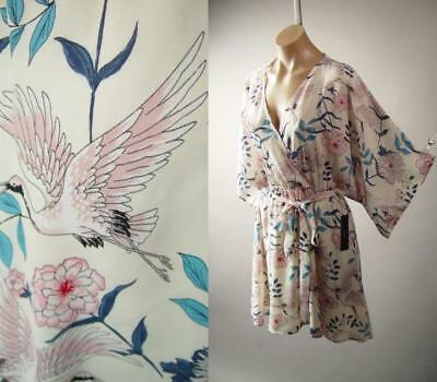 Japanese Crane Cherry Blossom Botanical Print Kimono Sleeve Wrap 276 mv Dress M