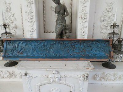 """AWESOME Old Chippy BLUE Wood ARCHITECTURAL HEADER Ornate 30""""  CHIPPY PATINA"""