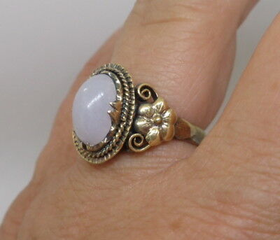 Vintage Chinese Silver Natural White Cabochon Jade Gold Gilt Vermeil Ring Flower