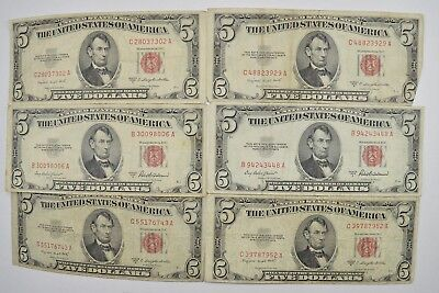 Lot of (6) $5.00 Red Seal Old US Notes Currency Collection 1953 *231
